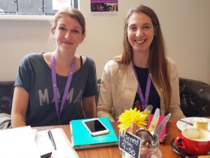 Meg and Cathy, Stockport MVP co-chairs sat at a table in a Stockport cafe for a listening event